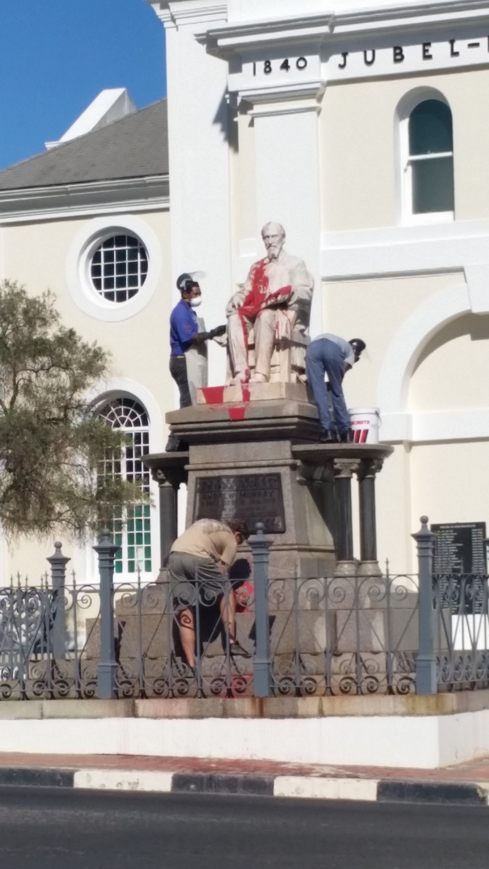 Andrew Murray statue being cleaned after defacement