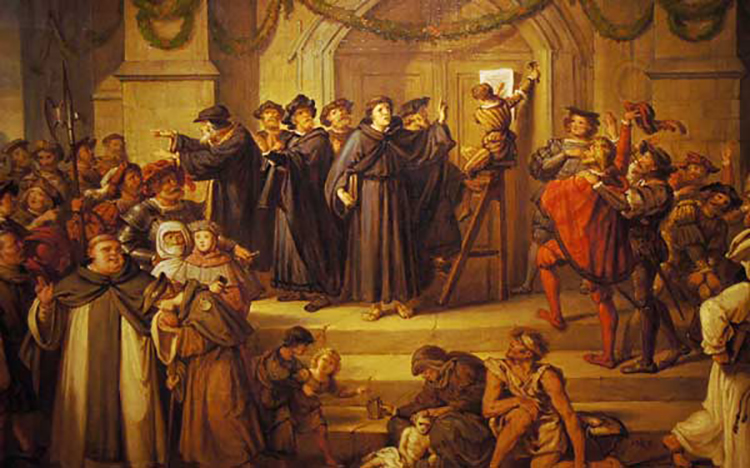 Martin Luther 95 Theses with crowds around him